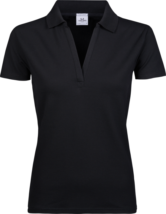 TEE JAYS Luxus v-hals Polo, dame - Sort