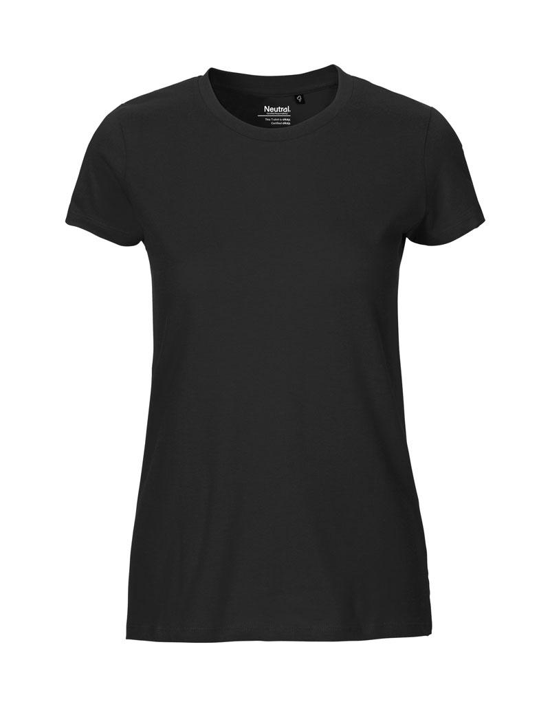 NEUTRAL Fit Dame T shirt, 100% Økologisk Fairtrade Bomuld Sort